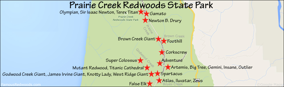 Orick California Map.Big Tree Famous Redwoods